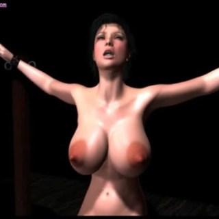 両手を縛られた爆乳美女がレイプされるエロアニメ画像