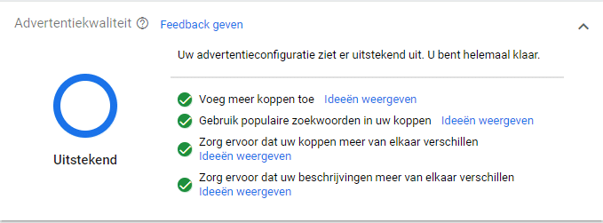 Responsive search ads kwaliteit
