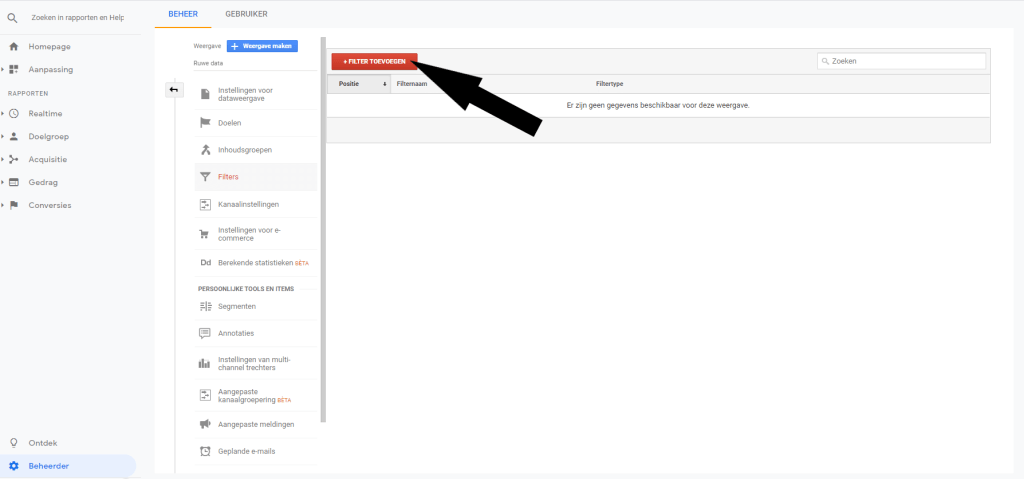 Google Analytics filter toevoegen