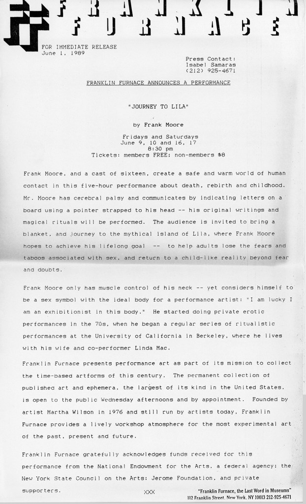 Franklin Furnace Press Release announcing the performance