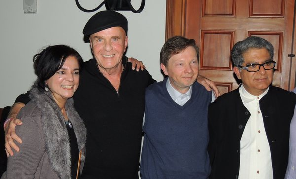 On this photo: Anita Moorjani (left) with Wayne Dyer, Eckhart Tolle, and Deepak Chopra