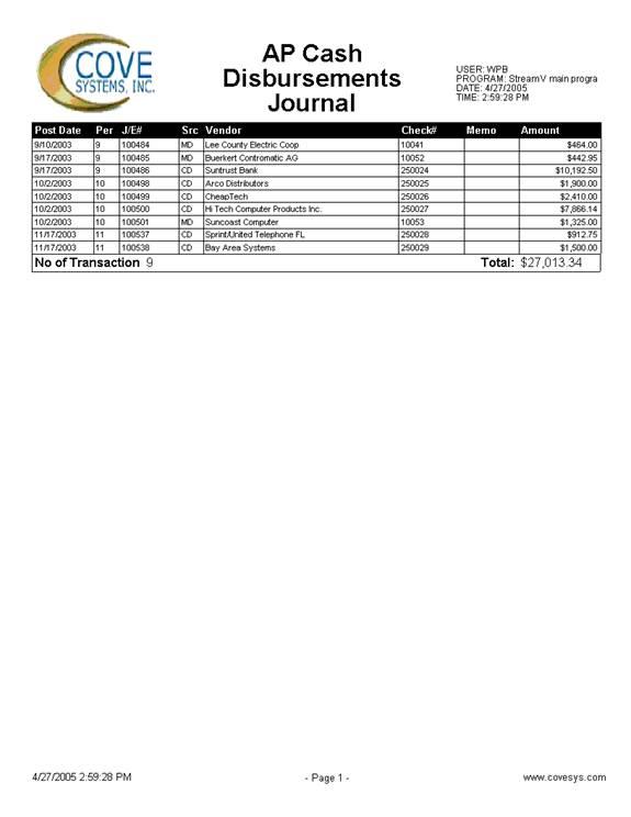 AP Cash Disbursements Journal