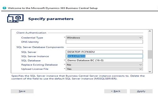 d365 specify parameter