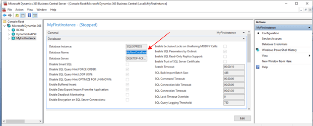 Database Name Added For Instance