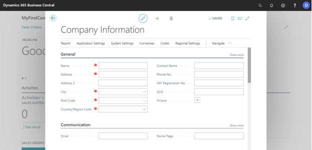 Fill Company Information In Business Central