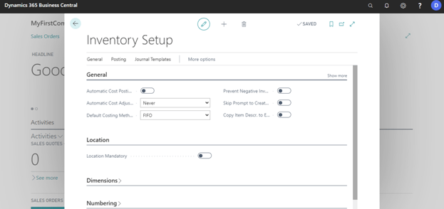Fill Inventory Setup info in dynamics 365