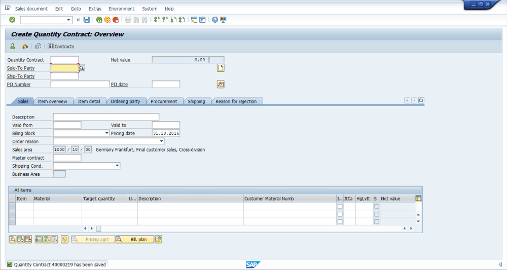medium resolution of sap sd contract was successfully saved