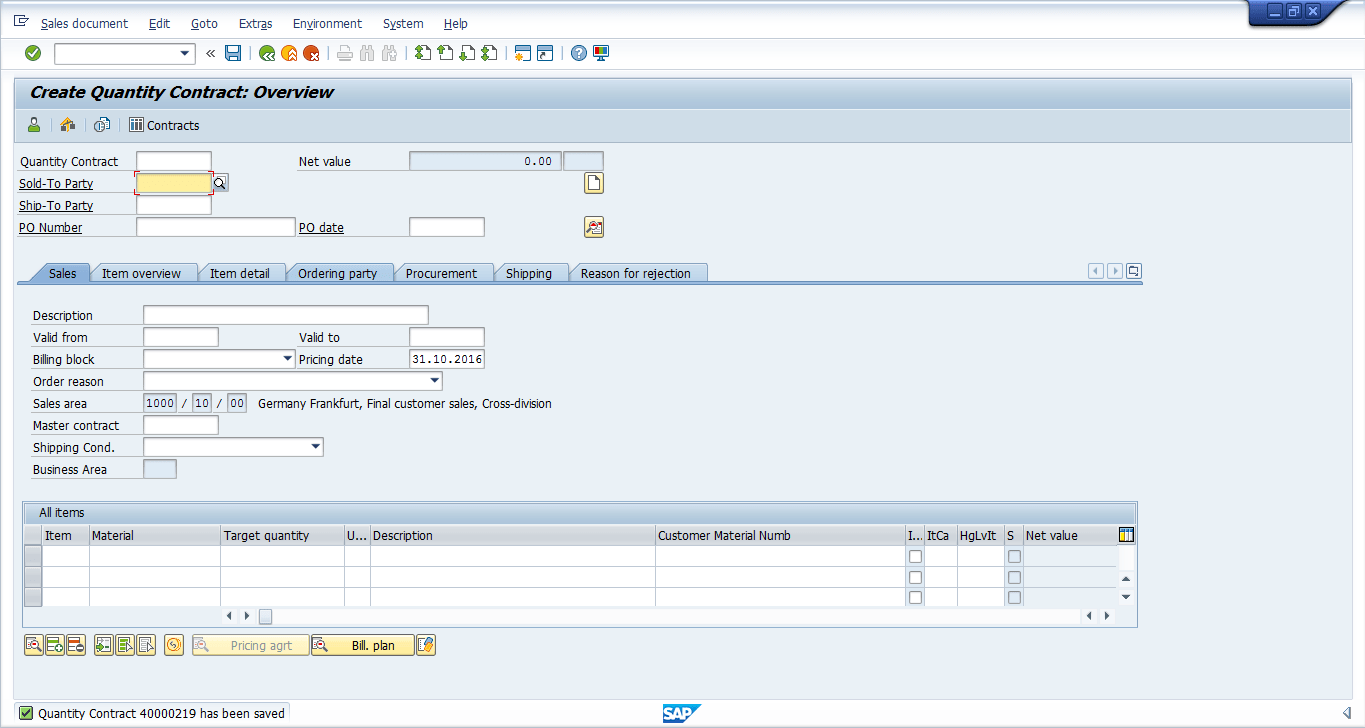 hight resolution of sap sd contract was successfully saved