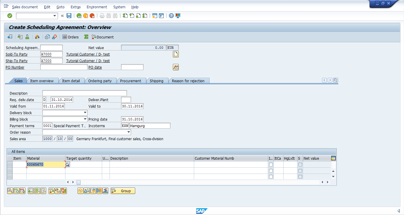 hight resolution of a material number was added to the scheduling agreement