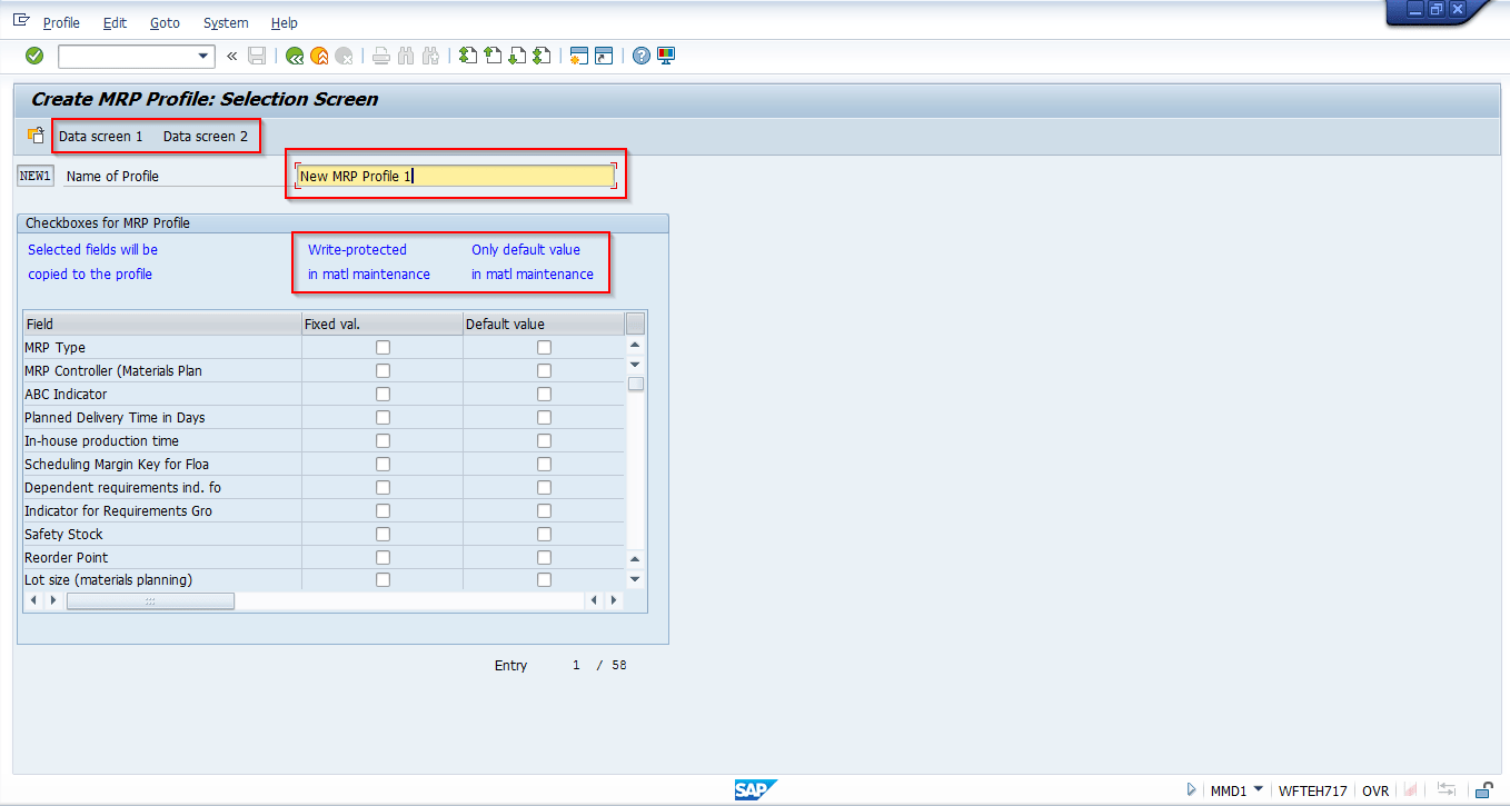 hight resolution of sap mrp profile creation selection screen
