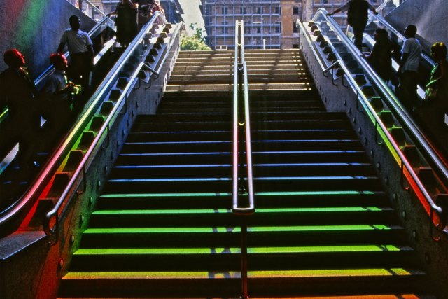 Prism - Solar Spectrum light art for a railway station by Peter Erskine