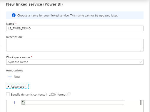New Linked Service Power BI