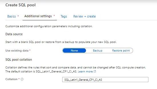 Additional settingsAzure Synapse SQL Pool