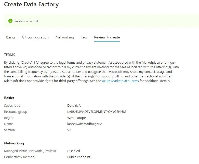 Create Azure Data Factory Validation
