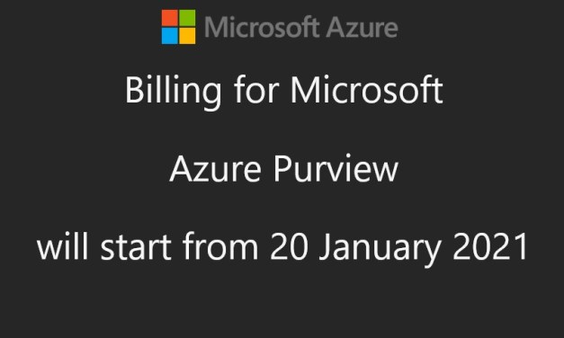 Azure Purview Public Preview Starts billing