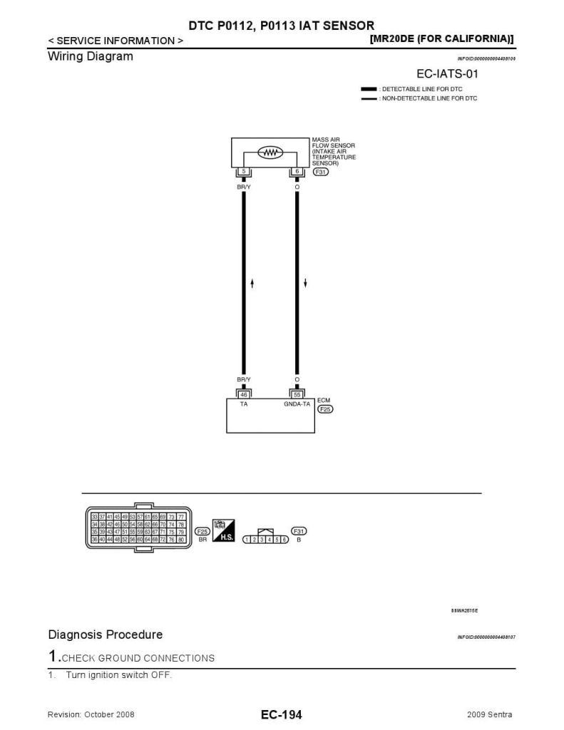 NISSAN DTC P0112, P0113 IAT SENSOR -INTAKE AIR TEMPERATURE ... on