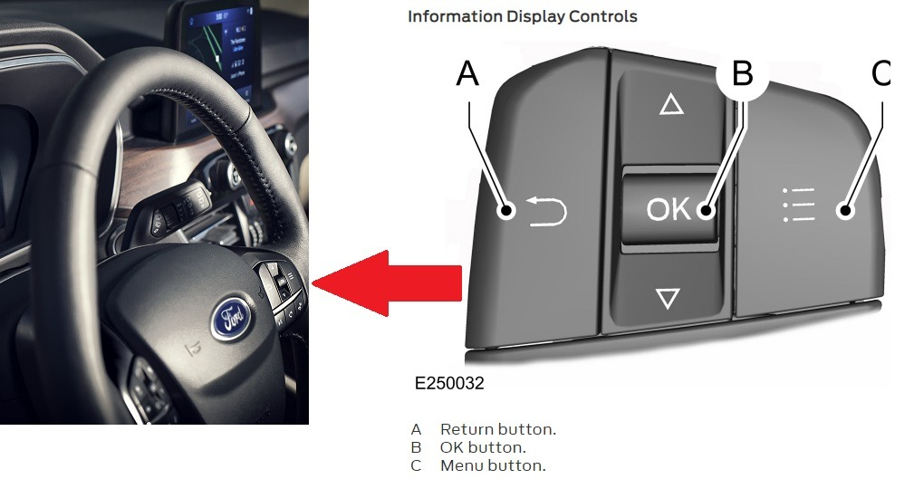 Ford Escape Dashboard information Display reset Button.