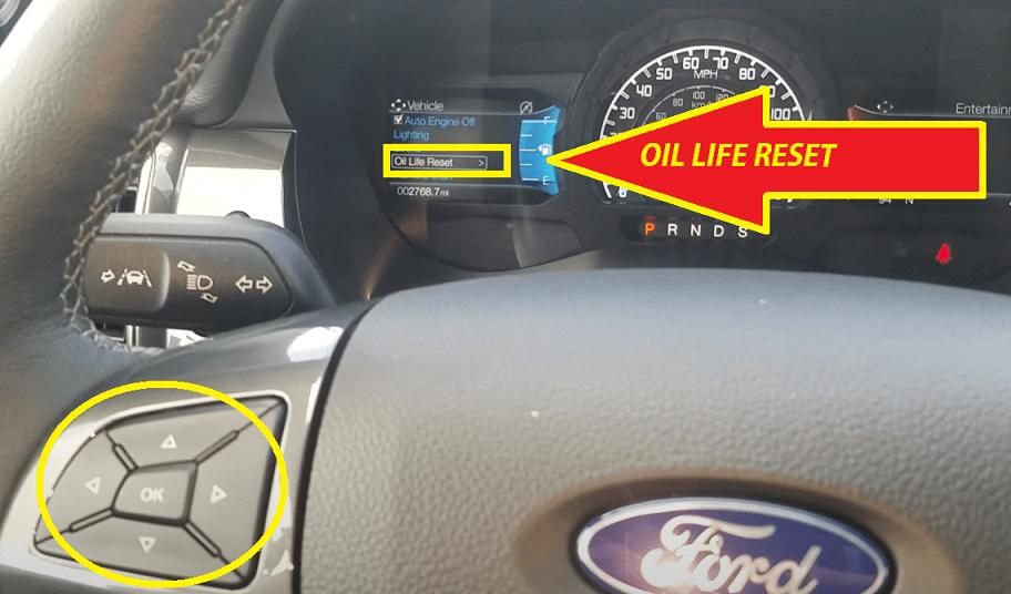 Ford Ranger Oil Reset - Navigate to OIl life reset