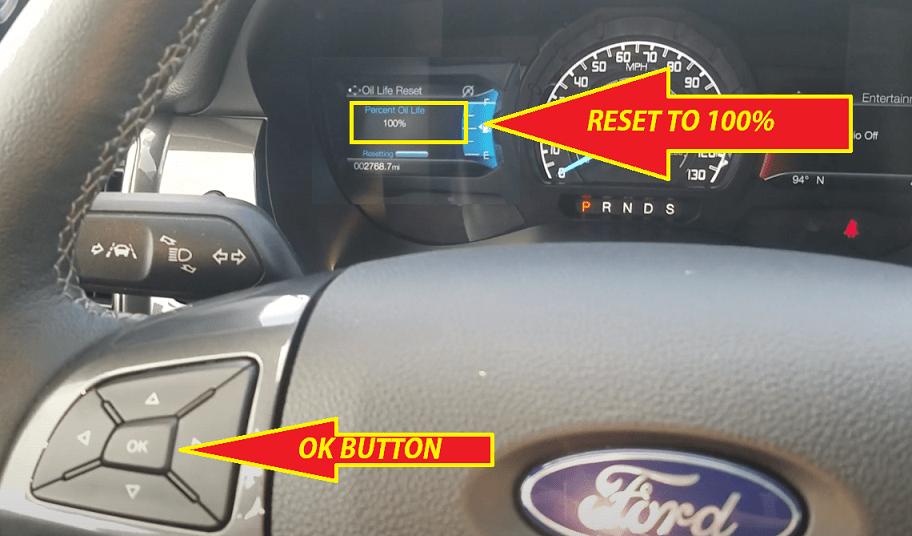 Ford Ranger Oil Reset - Oil life reset to 100%