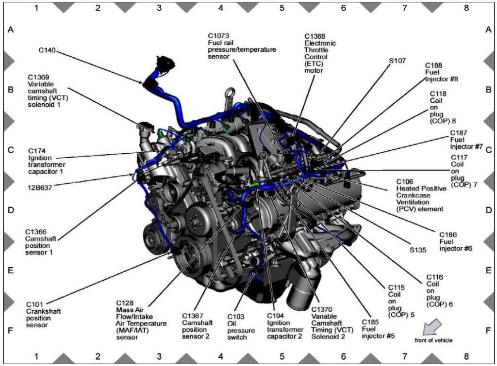 Ford F-Series V10 6.8L Engine Sensor Location Guide