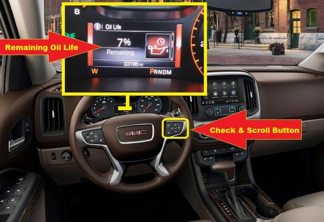 2015-2020 GMC Canyon Oil reset - remaining oil life