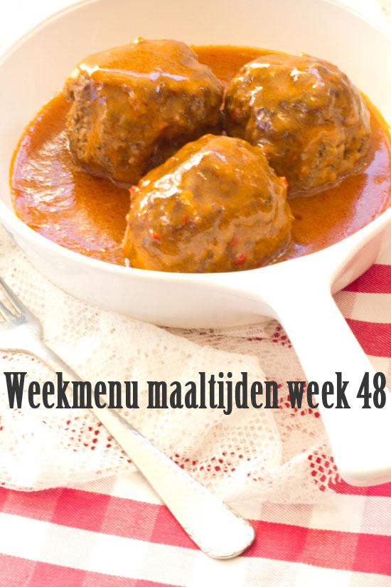 Weekmenu maaltijden week 48