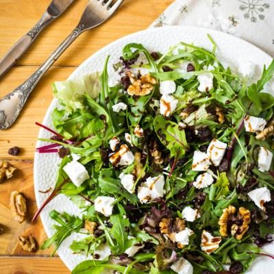 Geitenkaas salade appelstroop balsamico dressing