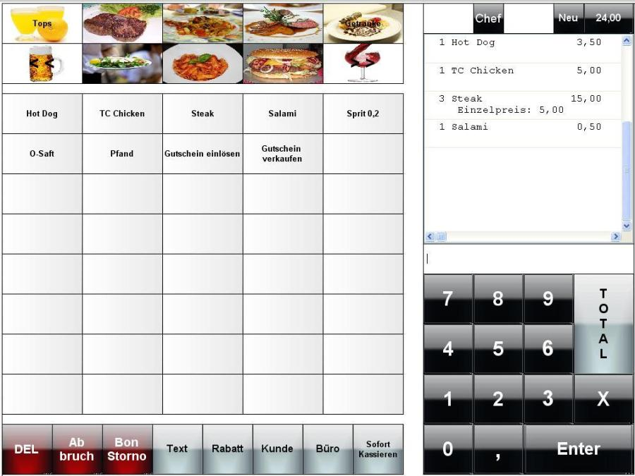 Kasse Gastronomie, Kassenprogramm, kassensoftware Restaurant