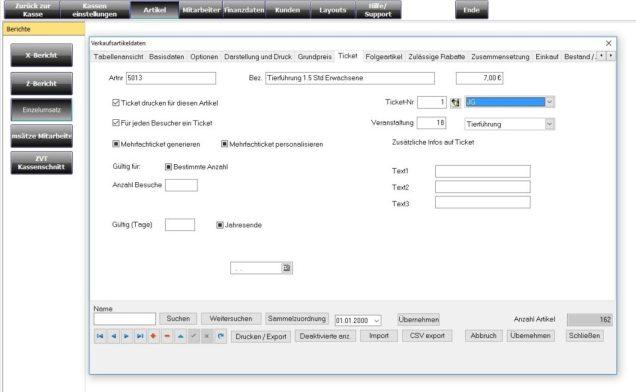 Ticketsoftware, Software Kartenverkauf