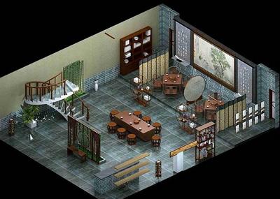 Modelo de estilo chino tradicional casa de t 3D Model