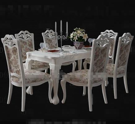 Blanco floral estilo pastoral mesa de comedor 3D Model