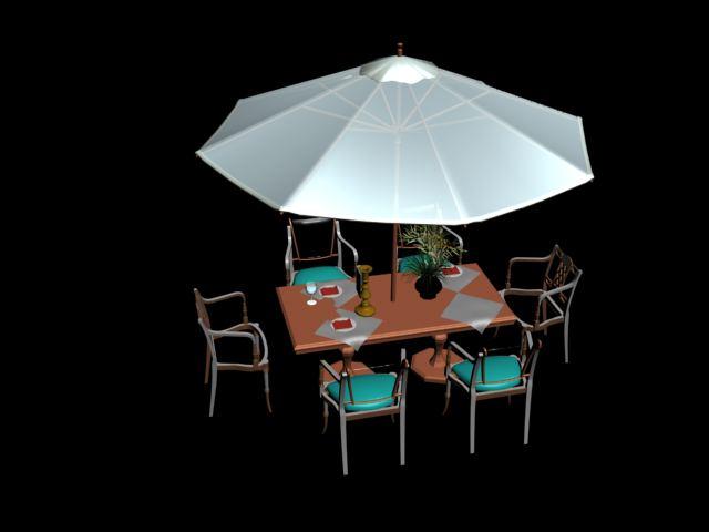 mesas y sombrillas de cartera 3D Model DownloadFree 3D