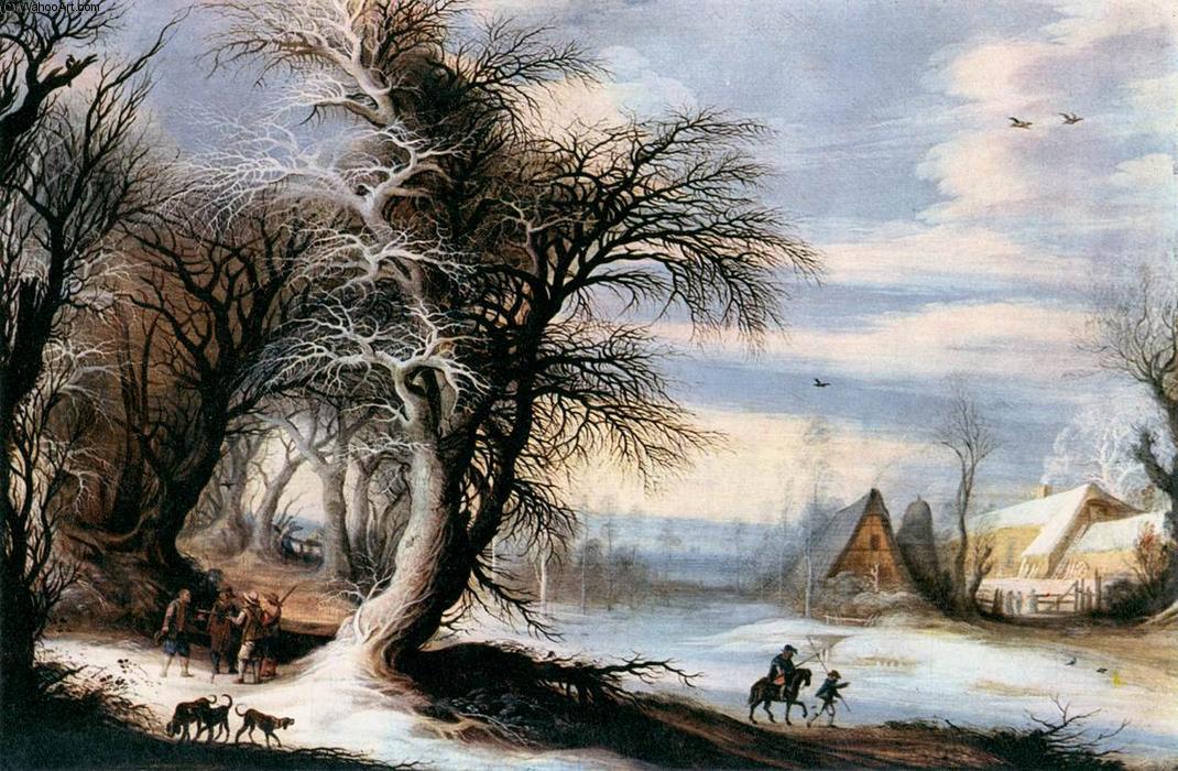 paisaje de invierno oleo en panel de Gijsbrecht Leytens
