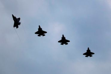 On this day 16th July 2019 six F-35 Jets from 207 Sqn landed a RAF Marham. This image shows four of the six F-35 Lighning aircraft breaking to land over RAF Marham. Six F-35 Lightning jets of 207 Squadron (Sqn) arrived back to the UK at their home base RAF Marham. The jets left Marine Corps Air Station (MCAS) Beaufort in South Carolina. The trip took 10 hours and the first jet landed at RAF Marham around 1950 local time. 207 Sqn will formally stand up on the 1st August 2019 and the first F-35 pilot course at RAF Marham will commence in early September 2019.