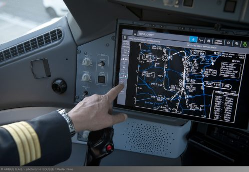 Touchscreen inside the A350 XWB cockpit
