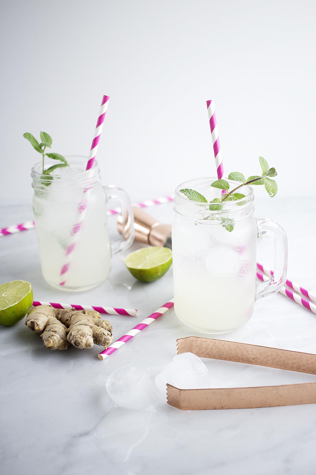 Cóctel de gin con jengibre