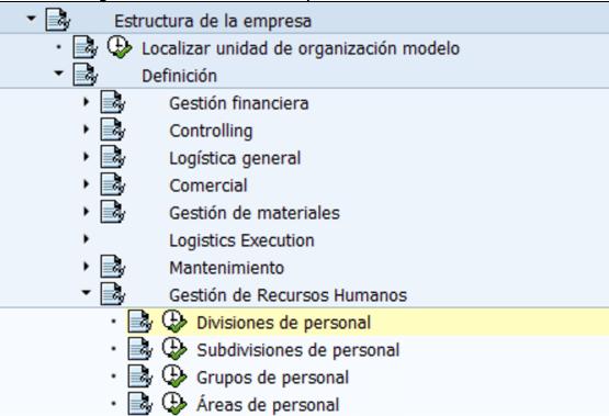 Configuración HCM SAP : Definición División de personal