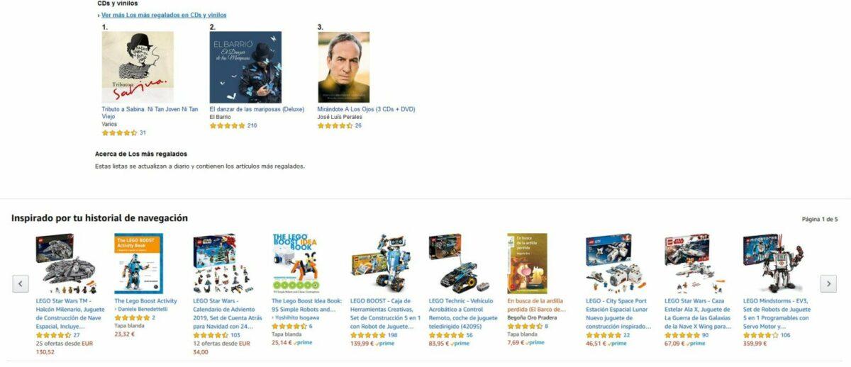Imagen de Amazon, ofreciendo sus productos usando thumbnail que es clave pra promocionar y obtener más ventas