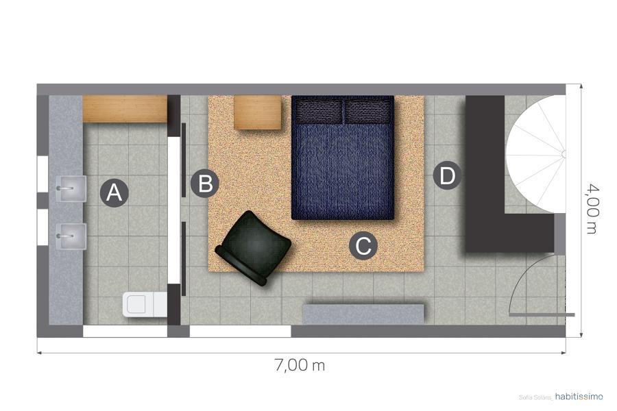 Foto Plano Planta Dormitorio y Bao 1226405  Habitissimo