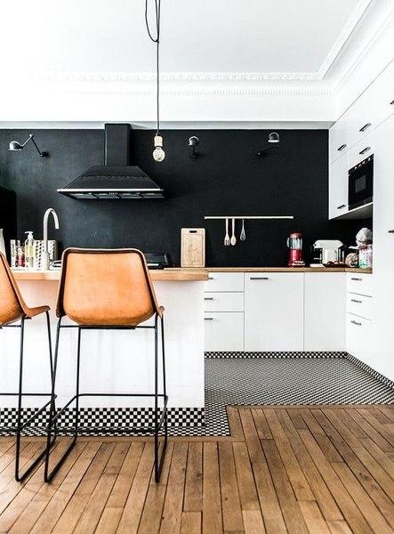 Qu material es la pared de la cocina negra  Habitissimo