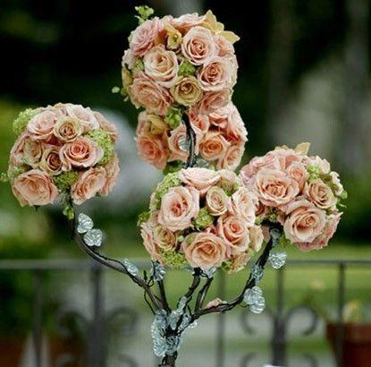 Centro mesa boda con flores rosas  Handspire