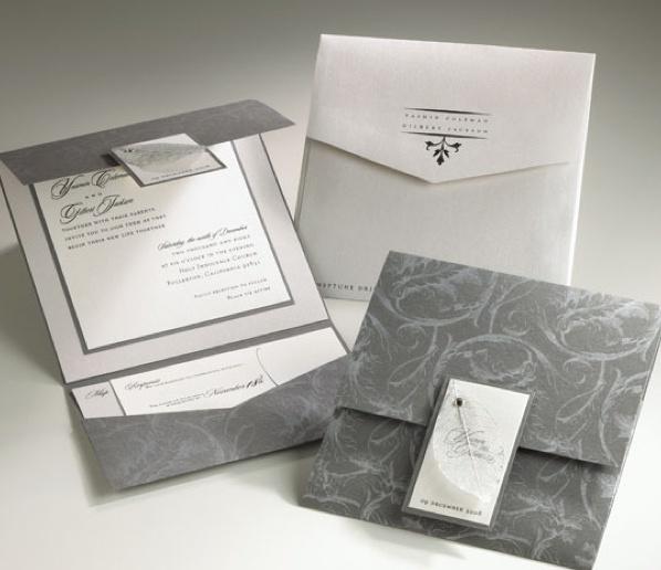 Invitacin de boda elegante gris  Handspire