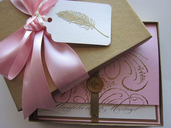 Invitacin de boda elegante rosa  Handspire