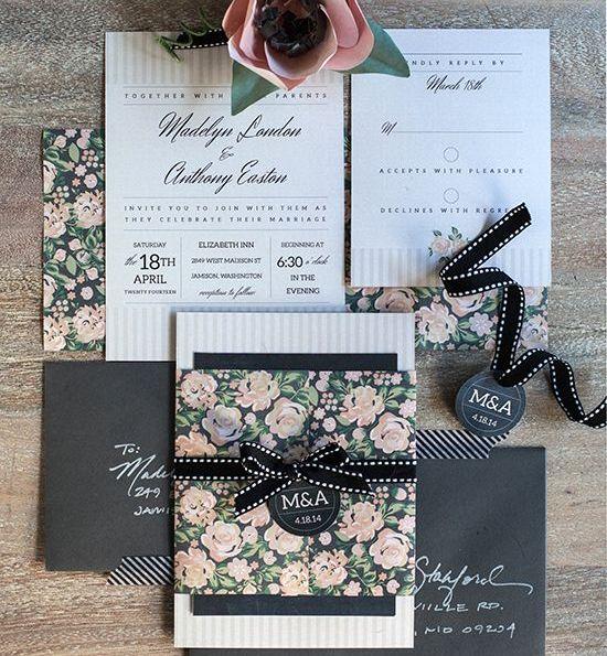 Invitacin de boda vintage con flores  Handspire