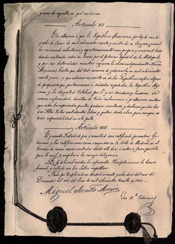 29 Diciembre 1836 se firma el 'Tratado Definitivo de Paz y Amistad entre la República Mexicana y S.M.C. la Reina Gobernadora de España'
