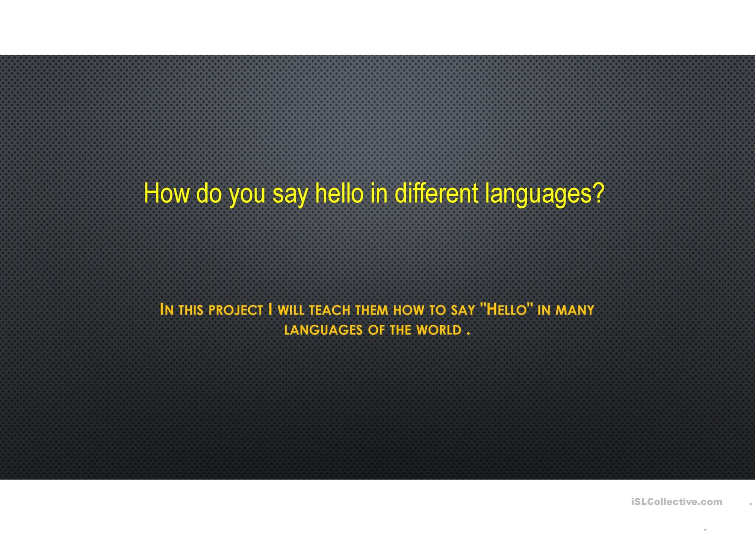 How To Say Hello In Different Languages Trabajos
