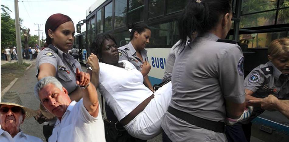 El régimen dice defender los Derechos Humanos, pero cada domingo persigue a las Damas de Blanco por exigir libertad de los presos políticos. (FotoMontaje de PanAm Post)