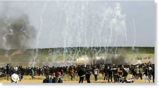 Gaza protestors tear gas