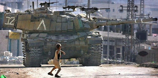 Palestinan child stone tank