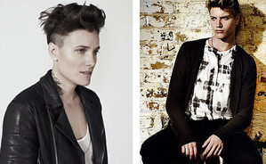 Izquierda, Casey Legler, una modelo francesa (mujer). Derecha, modelo suizo Roc Montandon (hombre)